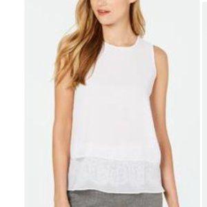 CALVIN KLEIN Womens White Lace Sleeveless PM size